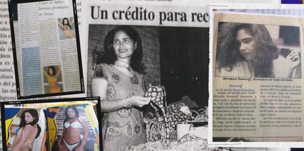 Recortes de periódico de la diseñadora Miroslava